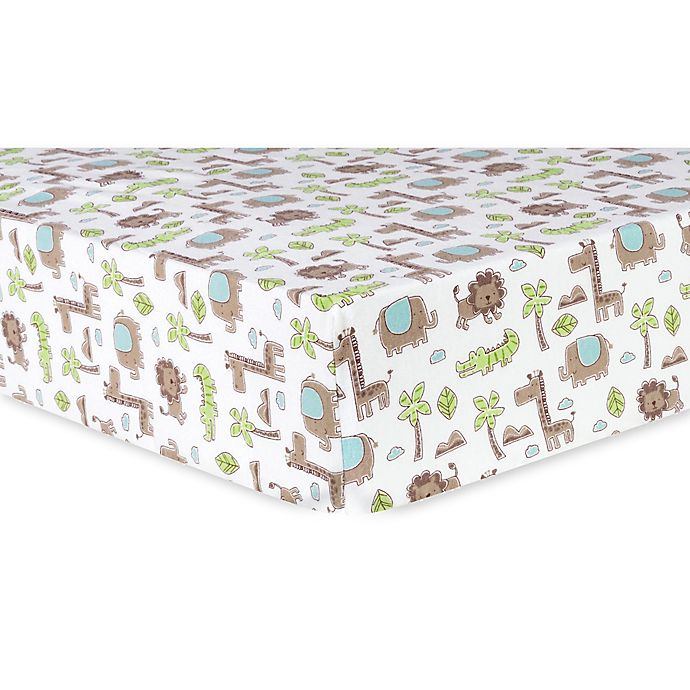 Alternate image 1 for Trend Lab® Safari Animals Deluxe Flannel Fitted Crib Sheet in Sage