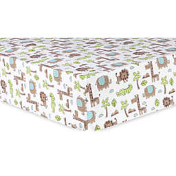 Trend Lab® Safari Animals Deluxe Flannel Fitted Crib Sheet in Sage