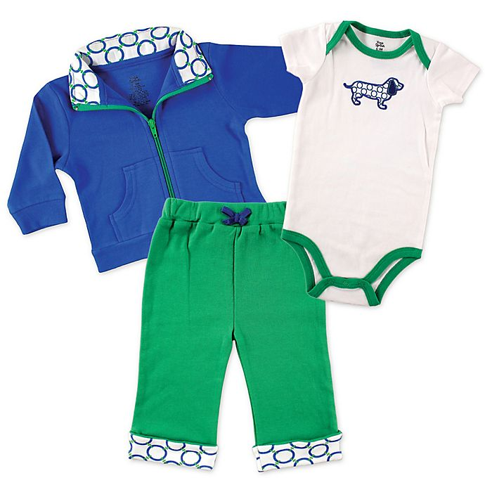 Alternate image 1 for Baby Vision® Yoga Sprout 3-Piece Dog Bodysuit, Jacket, and Pant Set in Blue/Green