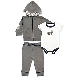 BabyVision® Yoga Sprout 3-Piece Lion Bodysuit, Hoodie, and Pant Set in Grey