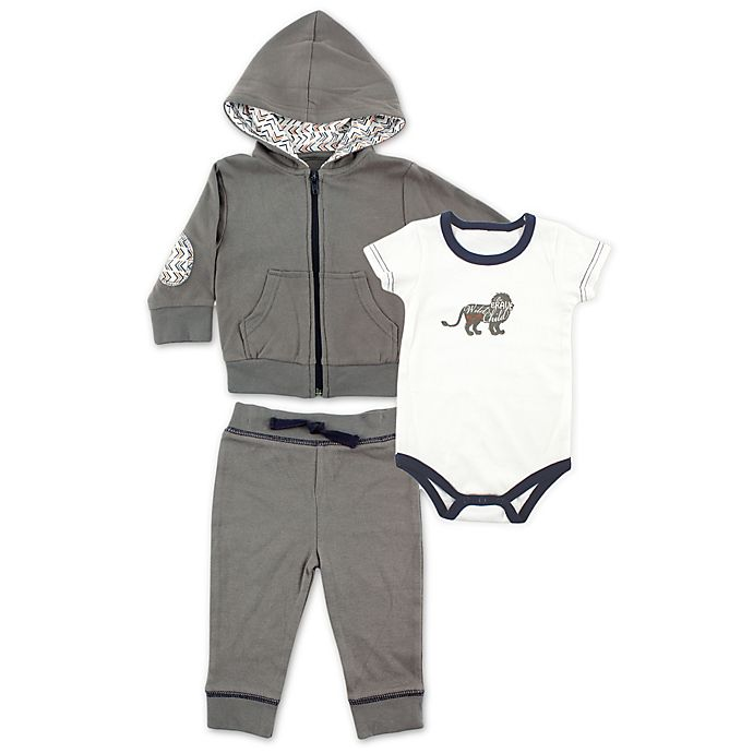 Alternate image 1 for BabyVision® Yoga Sprout 3-Piece Lion Bodysuit, Hoodie, and Pant Set in Grey