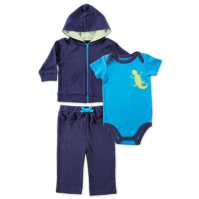 Alternate image 1 for BabyVision® Yoga Sprout 3-Piece Lizard Bodysuit, Hoodie, and Pant Set in Blue