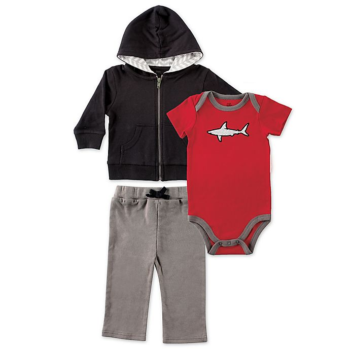 Alternate image 1 for BabyVision® Yoga Sprout 3-Piece Shark Bodysuit, Hoodie, and Pant Set in Black/Red