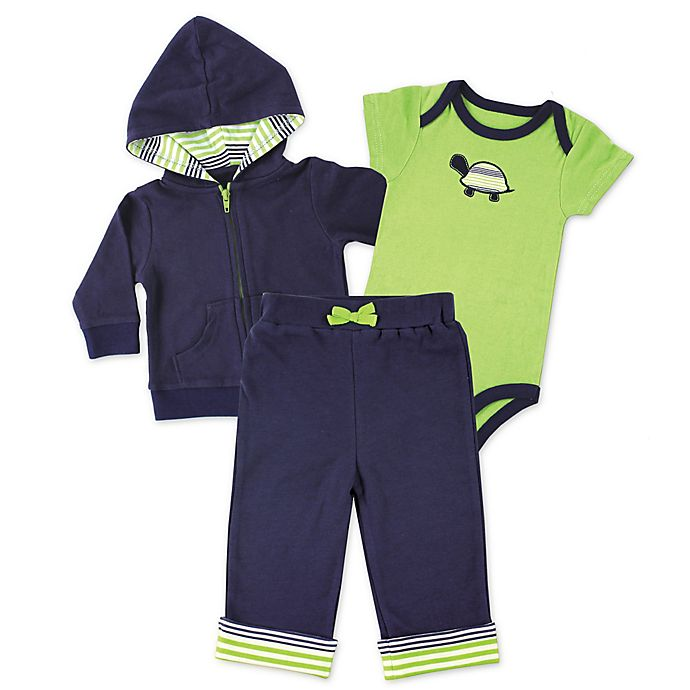 Alternate image 1 for BabyVision® Yoga Sprout 3-Piece Turtle Bodysuit, Hoodie, and Pant Set in Green/Navy
