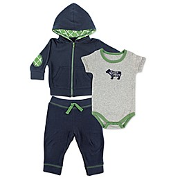 BabyVision® Yoga Sprout 3-Piece Bear Bodysuit, Hoodie, and Pant Set in Navy
