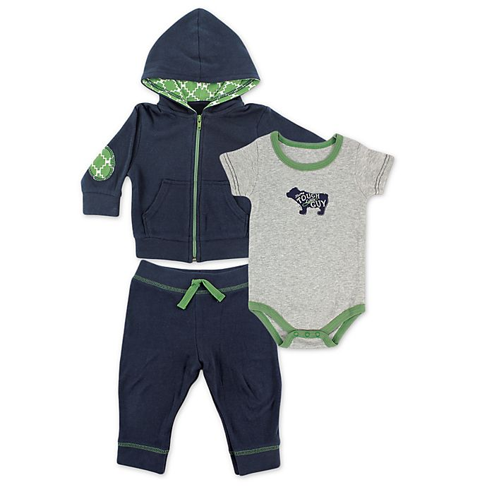 Alternate image 1 for BabyVision® Yoga Sprout 3-Piece Bear Bodysuit, Hoodie, and Pant Set in Navy