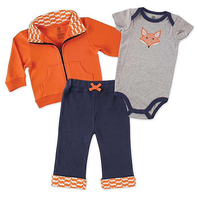 Alternate image 1 for Baby Vision® Yoga Sprout 3-Piece Fox Bodysuit, Jacket, and Pant Set in Orange/Navy