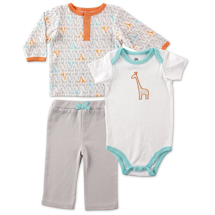 Alternate image 1 for BabyVision® Yoga Sprout 3-Piece Giraffe Long Sleeve Top, Bodysuit, and Pant set in Grey