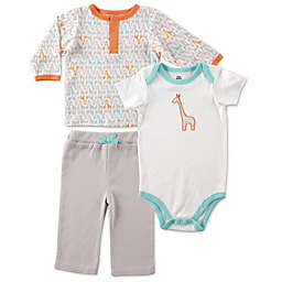 BabyVision® Yoga Sprout 3-Piece Giraffe Long Sleeve Top, Bodysuit, and Pant set in Grey
