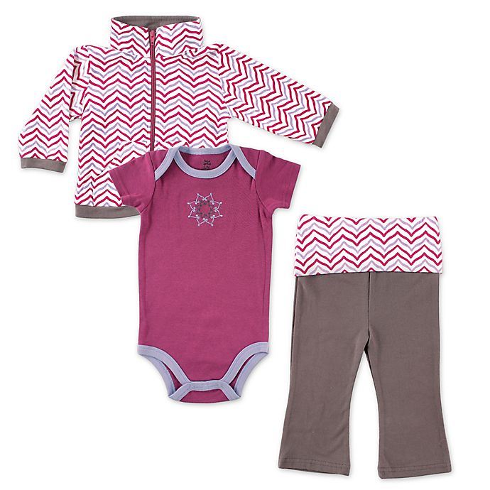 Alternate image 1 for BabyVision® Yoga Sprout 3-Piece Lotus Jacket, Bodysuit and Pant Set in Purple