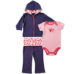 BabyVision® Yoga Sprout 3-Piece Paisley Bodysuit, Hoodie, and Pant Set in Coral/Navy