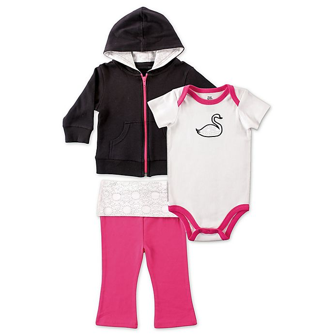 Alternate image 1 for BabyVision® Yoga Sprout 3-Piece Swan Bodysuit, Hoodie, and Pant Set in Pink/Black