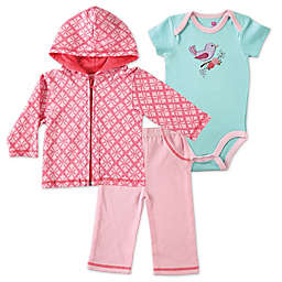 BabyVision® Hudson Baby® 3-Piece Bird Bodysuit, Hoodie, and Pant Set in Pink