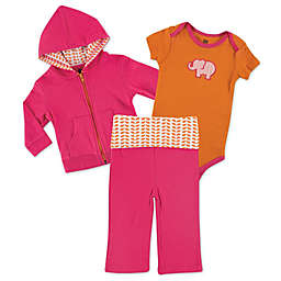 BabyVision® Yoga Sprout 3-Piece Elephant Bodysuit, Hoodie, and Pant Set in Pink/Orange