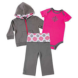 BabyVision® Yoga Sprout 3-Piece Medallion Hoodie, Bodysuit, and Pant Set in Grey/Pink
