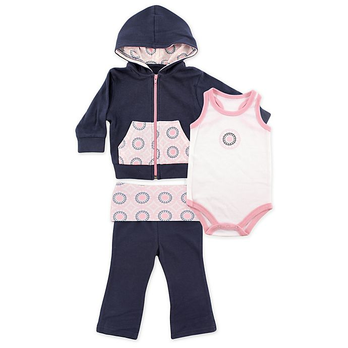 Alternate image 1 for BabyVision® Yoga Sprout Ornamental Hoodie, Bodysuit, and Pant Set in Navy/Pink