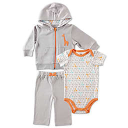 BabyVision® Yoga Sprout Giraffe Bodysuit, Hoodie, and Pant Set in Grey