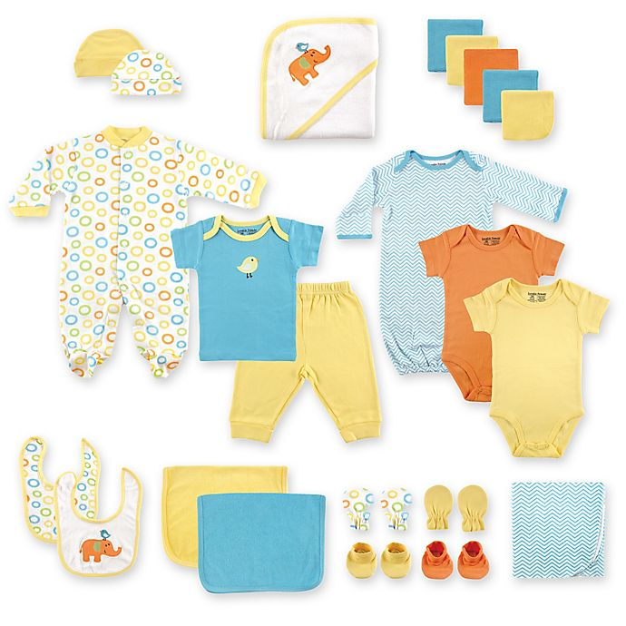 Alternate image 1 for Baby Vision® Luvable Friends® Size 0-6M 24-Piece Deluxe Gift Cube in Yellow
