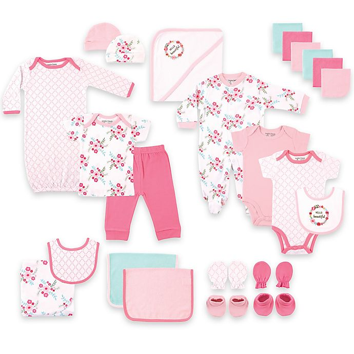 Alternate image 1 for BabyVision® Luvable Friends® Size 0-6M 24-Piece Floral Deluxe Gift Cube in Pink