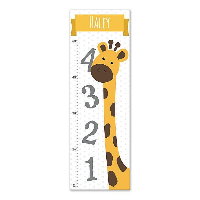 Giraffe Growth Chart Canvas Wall Art In Yellow