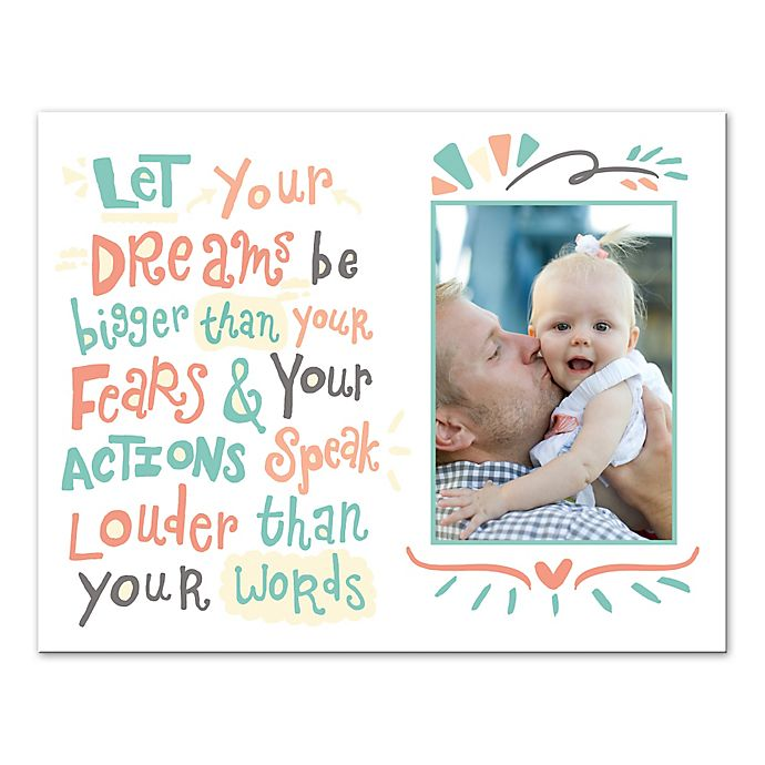 Alternate image 1 for 14-Inch x 11-Inch Children's Dreams and Actions Inspirational Canvas Wall Art in White