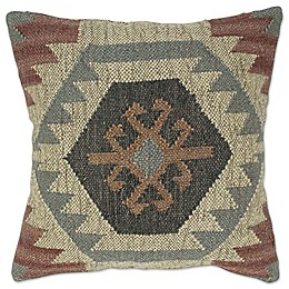 Jute Square Throw Pillow in Brown