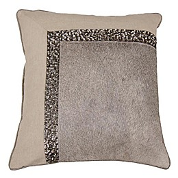Aura Embellished Square Throw Pillow in Wheat