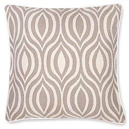 Aura Hand Embroidered Square Throw Pillow in Natural