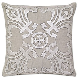 Aura Embroidered Square Throw Pillow in Natural