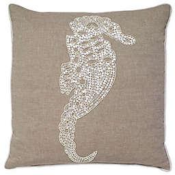 Aura Seahorse Square Throw Pillow in Natural/White