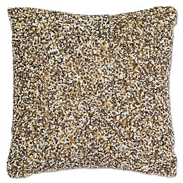 Aura Sand Sequin Square Throw Pillow in Natural