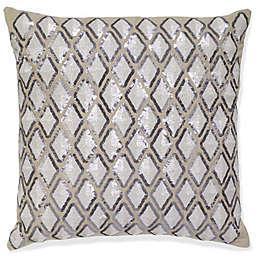 Diamond Linen Square Throw Pillow in Beige