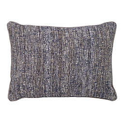Aura Boucle Rectangle Throw Pillow in Navy/Ivory