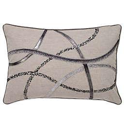 Aura Metallic Leather Strips Oblong Throw Pillow