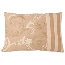 Applique Linen Square Throw Pillow in Beige