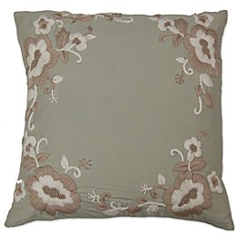 Flower Applique Square Throw Pillow in Beige