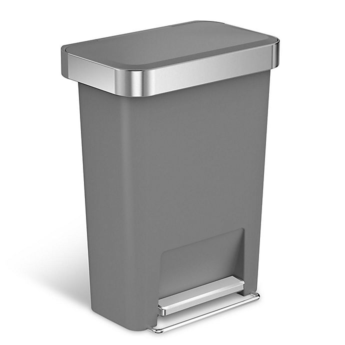 Alternate image 1 for simplehuman® 45-Liter Plastic Rectangular Step Trash Can with Liner Pocket