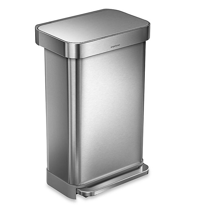 Alternate image 1 for simplehuman® 45-Liter Rectangular Liner Rim Step Trash Can with Liner Pocket