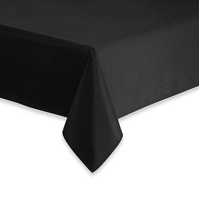 Alternate image 1 for Windsor Stain Resistant 90-Inch Round Tablecloth in Black
