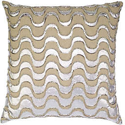 Aura Squiggle Square Throw Pillow in Natural/White
