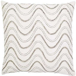 Aura Squiggle Square Throw Pillow in White/Silver