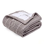 Berkshire Blanket Sweaterknit Reversible Faux Fur Tipped Throw Blanket in Taupe