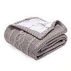 Berkshire Blanket Sweaterknit Reversible Faux Fur Tipped Throw Blanket in Taupe
