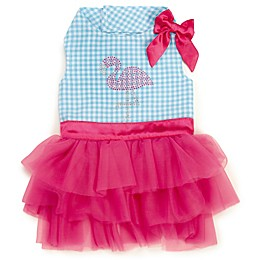 Zack and Zoey Sparkle Flamingo Dress in Turquoise/White
