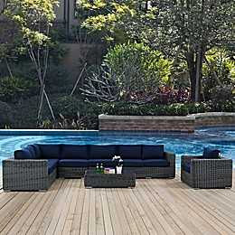 Modway Summon Outdoor Wicker Furniture Collection in Sunbrella® Canvas