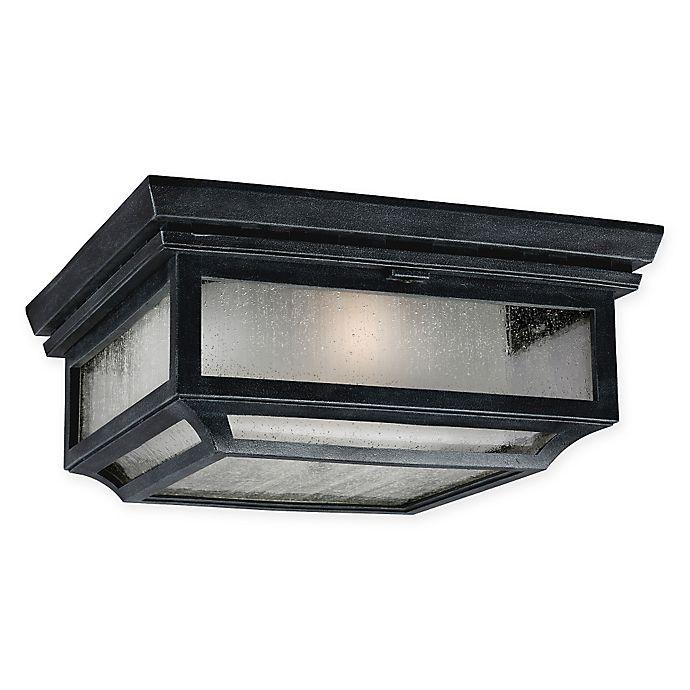 Alternate image 1 for Feiss® Shepherd 2-Light Flush-Mount Outdoor Light in Zinc