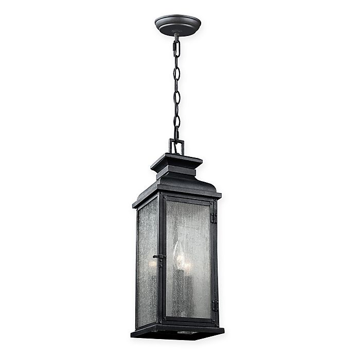 Alternate image 1 for Feiss® Pediment 3-Light Pendant Outdoor Light in Dark Weathered Zinc