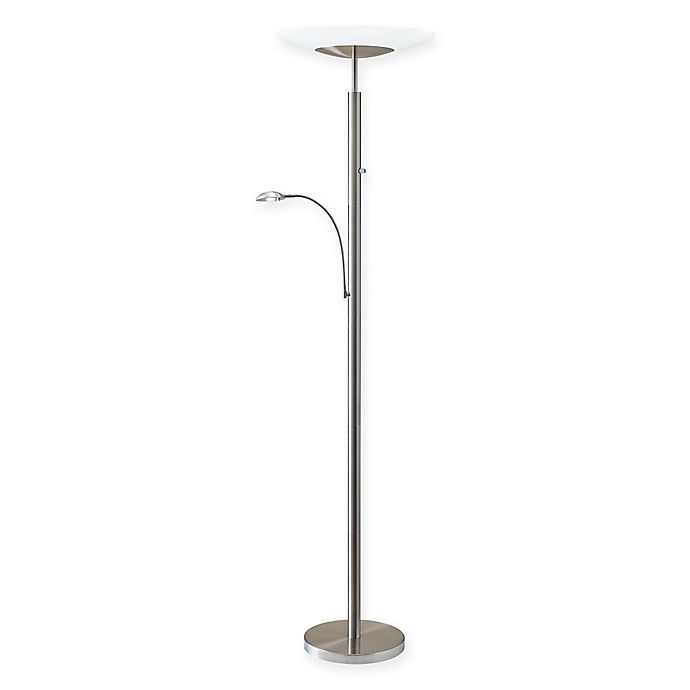 Adesso 174 Stellar Brushed Steel Torchiere Floor Lamp With