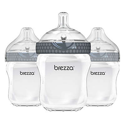 Baby Brezza® 3-Pack Natural Bottles in Grey