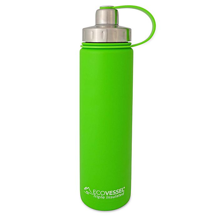 Alternate image 1 for Eco Vessel® BOULDER 24 oz. Insulated Stainless Steel Water Bottle in Green